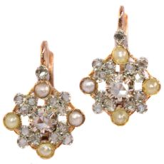 Estate earrings with pearls and diamonds Belle Epoque Art Deco by Unknown Artist