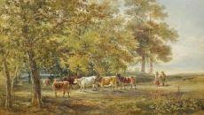Landschap met koeien by Julius Jacobus van de Sande Bakhuyzen