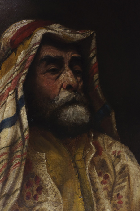 Portrait of a man in traditional Arab garb by E.M. Williams
