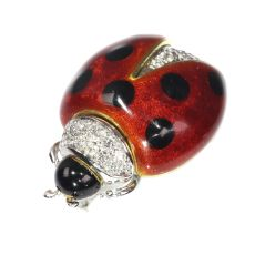 Vintage enameled gold ladybug brooch with diamonds by Unknown Artist