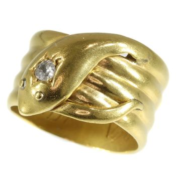 Antique gold English coiled snake ring with old brilliant cut diamond (ca. 1893) by Unknown Artist