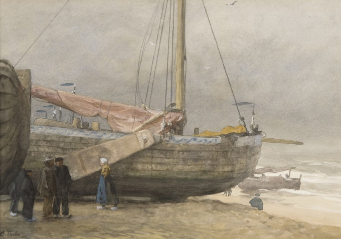 Fisherfolk on the beach by Willem Bastiaan Tholen