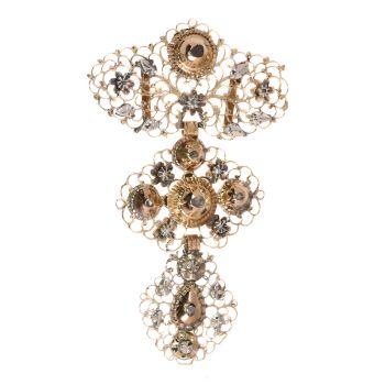Georgian Belgian gold diamond à la Jeannette pendant by Unknown Artist