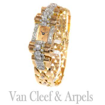 VCA Van Cleef and Arpels Vintage Retro gold diamond pink gold ladies watch by Unknown Artist