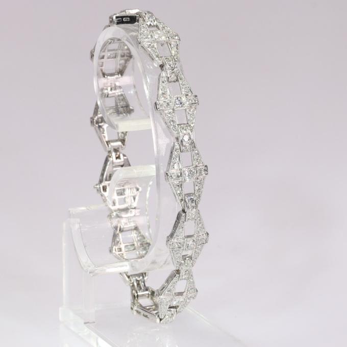 Vintage 1950`s Art Deco platinum diamond bracelet set with 220 diamonds by Unknown Artist