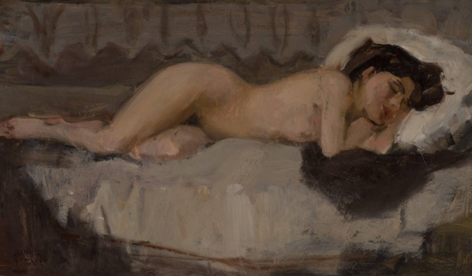 Lying nude by Isaac Israels