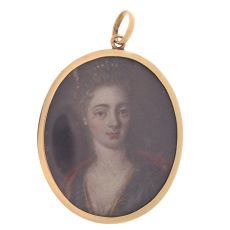 Georgian painted miniature in red gold pendant by Unknown