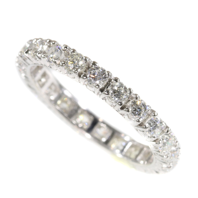 Vintage Seventies white gold fully diamond set wedding band by Unknown