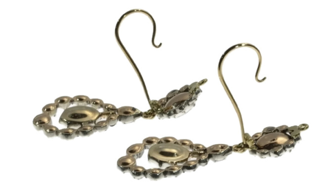 Late Georgian early Victorian long pendent rose cut diamond earrings by Unknown Artist