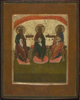 Russian miniature icon: The Arch fathers Abraham, Isaac and Jacob by Unknown Artist
