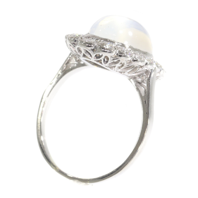 Vintage platinum diamond ring with magnificent moonstone by Unknown Artist