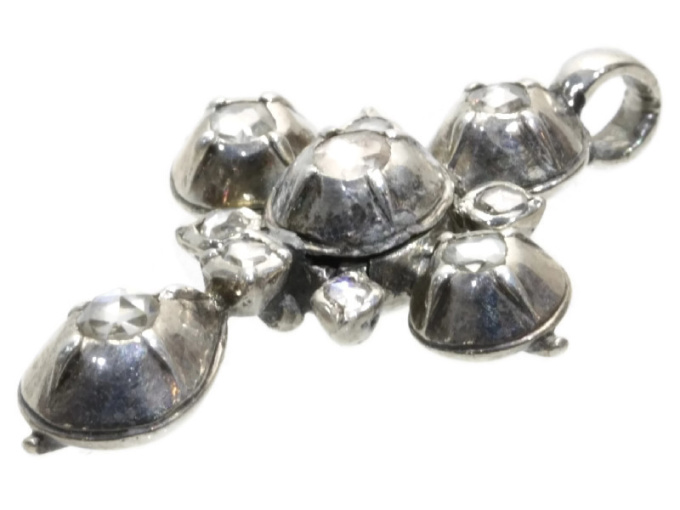 Early Victorian antique silver rose cut diamonds cross by Unknown Artist