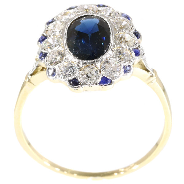 Most elegant diamond and sapphire Lady Di type of engagement ring by Unknown