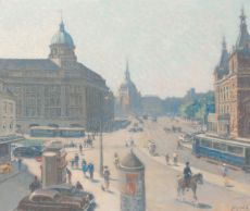 The Leidseplein, Amsterdam by Anthonie Pieter Schotel