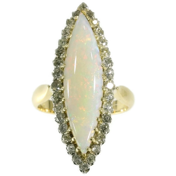 Original Antique Victorian opal and diamond ring by Unknown