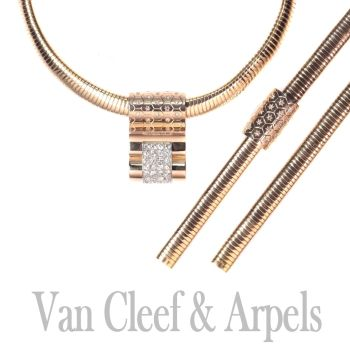 Van Cleef and Arpels gold and diamond parure matching necklace and bracelet VCA by Van Cleef & Arpels