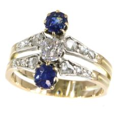 Antique Victorian ring with diamonds and sapphires by Unknown