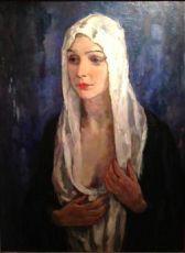 Vrouw met witte Sluier