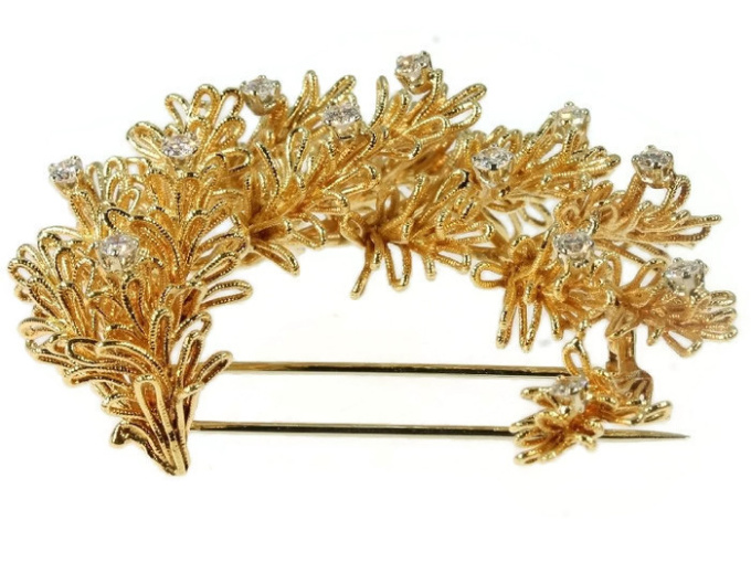 Cartier diamond and yellow gold brooch Cartier Paris by Unknown Artist