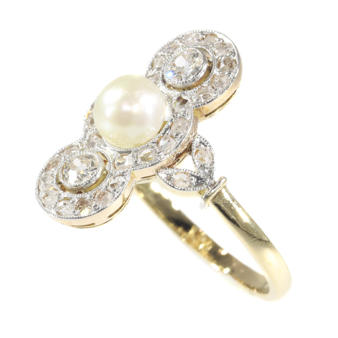 Vintage Belle Epoque pearl and diamond ring by Unknown Artist