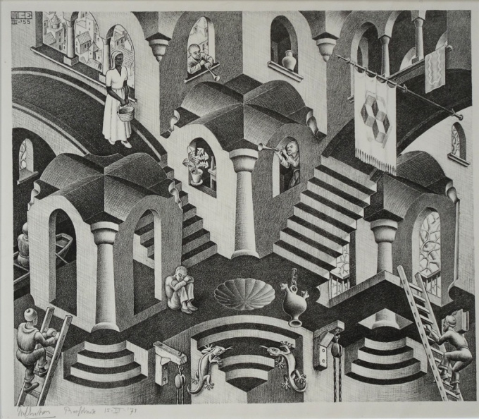 'Convex and concave'  by Maurits Cornelis Escher