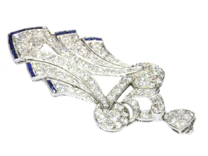 Original stylish Vintage Art Deco platinum diamond loaded pendant by Unknown