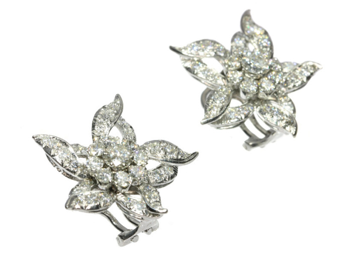 Estate diamond loaded ear clips by Unknown Artist