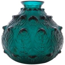 A very rare deep green 'Fougeres' Vase designed by R. Lalique by René Lalique