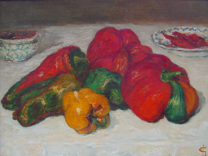 Spanish peppers by Carel Nicolaas Storm van 's Gravesande