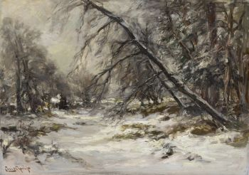 A forest path in winter by Louis Apol