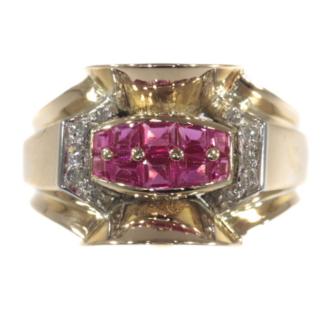 Original Vintage Retro ring with rubies and diamonds by Unknown