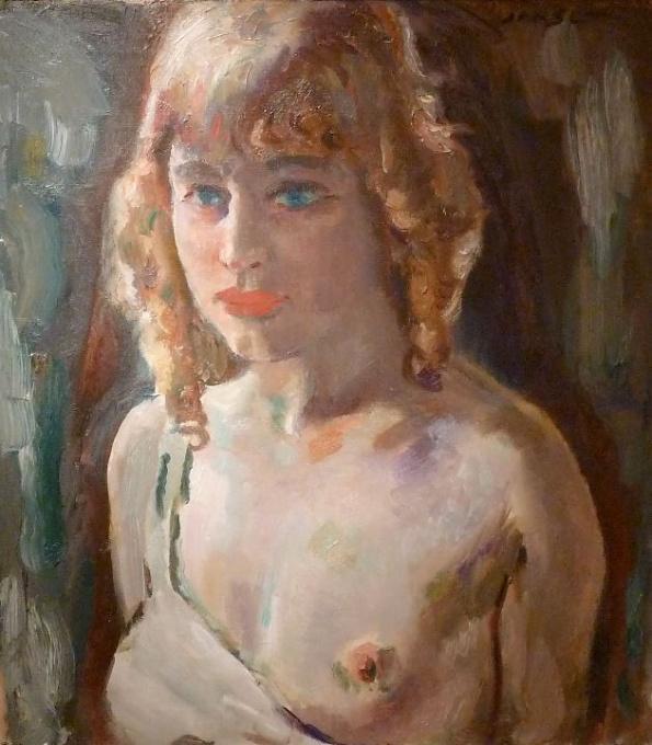 Blond girl, half nude by Jan Sluijters