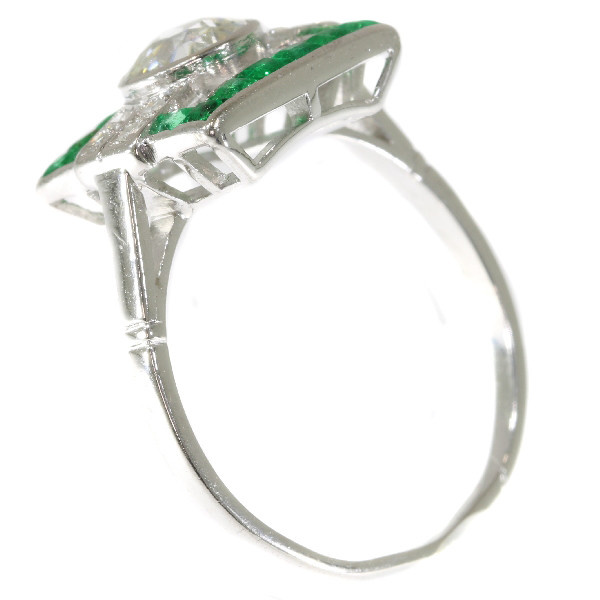Strong yet sober design Art Deco ring with diamonds and emeralds by Unknown Artist