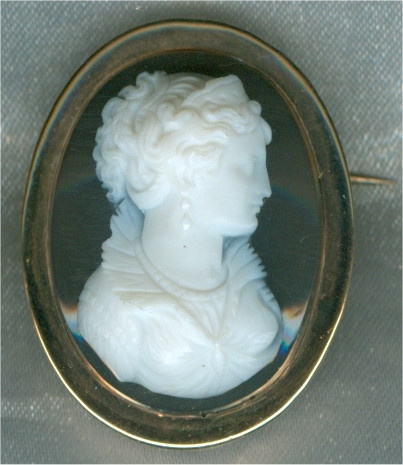 French Victorian hard stone cameo brooch, pendant by Unknown Artist