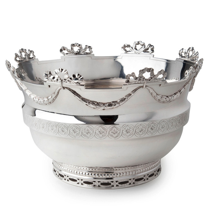 An elegant Louis XVI Dutch Silver Monteith bowl   by Reynier de Haan
