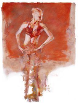 Glittergirl on Orange  by Robert Heindel