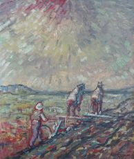 Plowing farmer with draft horses by Herman Gouwe