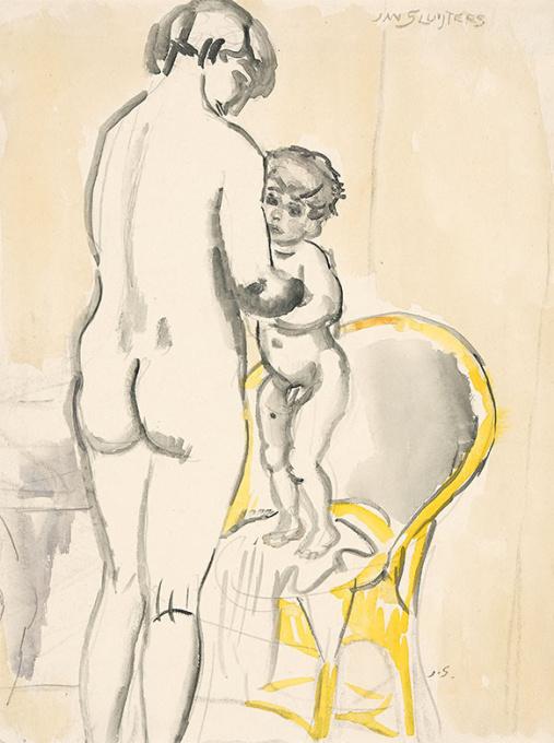 Greet met Jantje, Moeder met kind, naakt op een stoel staand by Jan Sluijters