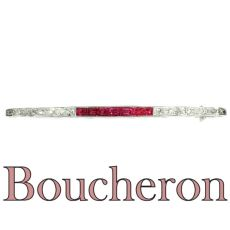 French Art Deco platinum diamond and ruby bar brooch signed Boucheron by Boucheron .