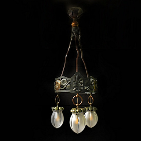 Arts and crafts hanglamp by Unknown Artist