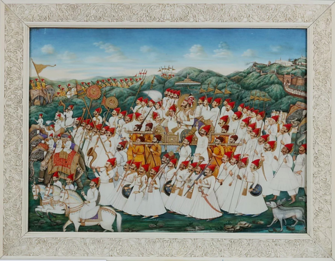 IMPORTANT AND RARE LARGE INDIAN 'COMPANY STYLE' PAINTING ON IVORY DEPICTING A PARADE by Unknown Artist
