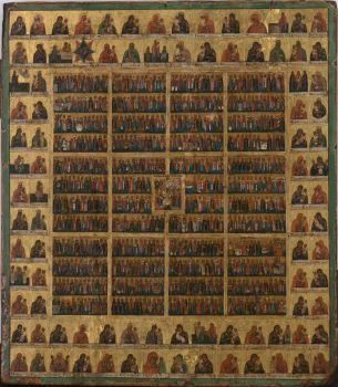 No 11 Year Calendar Icon with all the Saints by Unknown Artist