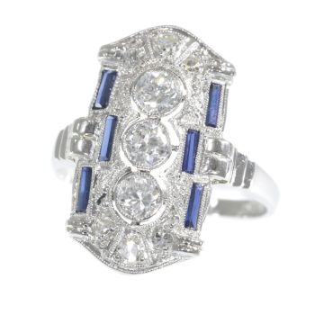 Platinum Art Deco diamond and sapphire engagement ring by Unknown Artist