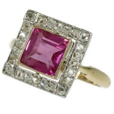 Estate Art Deco ring with rose cut diamonds and pink spinel by Unknown Artist