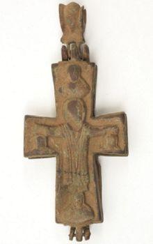 Antique Byzantine bronze encolpion cross by Unknown Artist