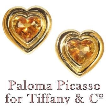 Paloma Picasso for Tiffany & Co Vintage citrine heart shaped earclips by Unknown Artist