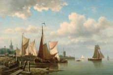 Ships at a quay near Overschie by Everhardus Koster