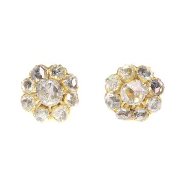 Antique Victorian 18K gold earstuds with 18 rose cut diamonds by Unknown Artist