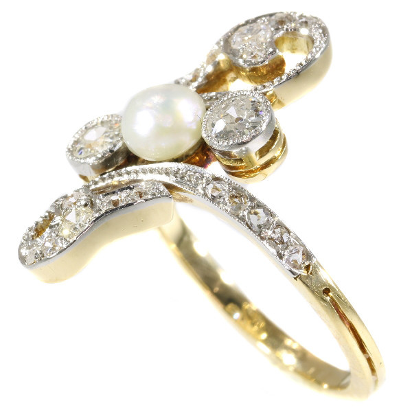 Elegant late Victorian diamond and pearl ring by Unknown