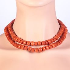 Antique blood coral long necklace with thick beads by Unknown Artist